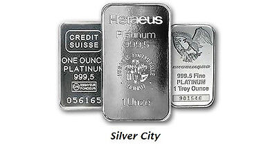 Platinum 1Oz. .999 Bar (Random Maker) 1 Ounce