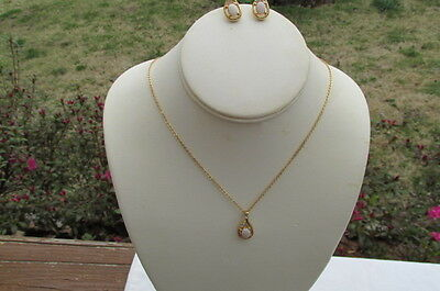 Gold Tone Faux Pink Oval Pendant Necklace & Earring Set w/ Rhinestones AB4