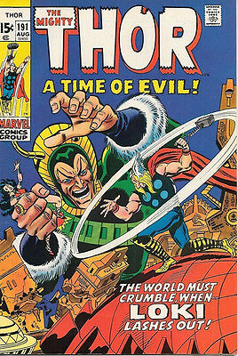 The Mighty Thor Comic Book #191, Marvel Comics 1971 FINE+/VERY FINE-