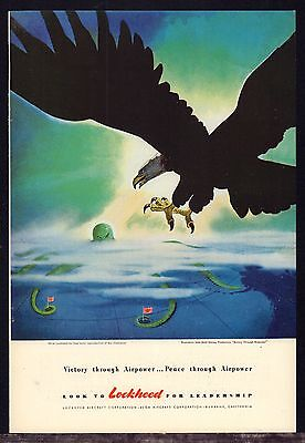 1943 WW II LOCKHEED American Eagle Attacks Japanese Ship Disney Art WWII WW2 AD