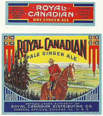 Royal Canadian Ginger Ale Soda Bottle & Neck Label Chicago, Illinois