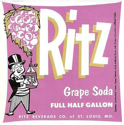 Ritz Grape Soda Unused Label Ritz Beverage Co. St. Louis Missouri Half Gallon