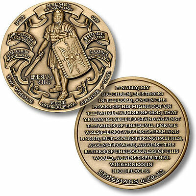 Armor of God - High Relief - Ephesians 6:10-12 Bronze Challenge Coin NEW