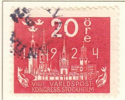 SWEDEN  :  1924  8th Congress of UPU 20 Ore Used