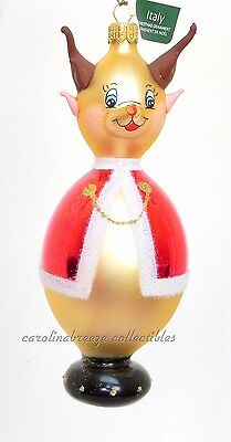Red Nosed Reindeer In Red Cape Italian Hand Crafted Blown Glass Ornament NIB