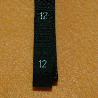 500 Pcs Woven Clothing Number Size Tags Label DIY Sewing Wholesale Black Size 12