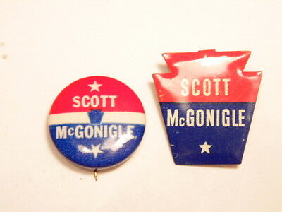 2 vintage Pennsylvania campaign pins:Sen. Hugh Scott / McGonigle's run