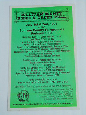 1995 Poster:  Sullivan County Rodeo & Truck Pull, Forksville, PA