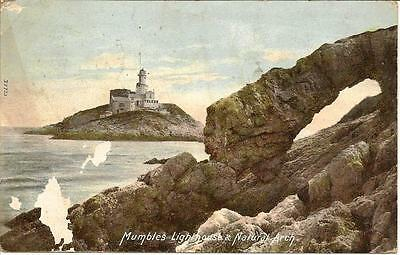 Mumbles Lighthouse and Natural Arch - Posted Postcard.1905