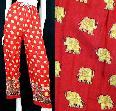 Dress in ELEPHANT PRINT Vintage RED Ethnic LOOSE FIT Casual BOHO PANTS sz XS-S-M