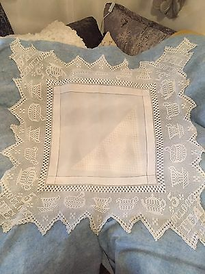 Vintage Linen And Lace Tablecloth