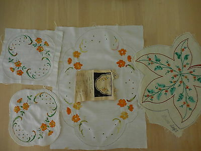 Vintage Needlework Embroidery  X 4 Pieces 3 Worked Fautleys 1921 And 5658