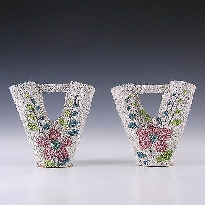 Pair of Italian Ceramic Floral Textured Pottery Vases