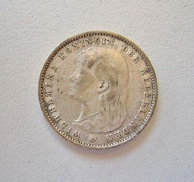 Netherlands, 1894, Silver 25 Cents  Good Fine condition, 19.4 mm Diameter