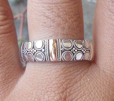 925 Sterling Silver-RL115-Balinese Handcrafted Ring & Gold 22kt Size 8
