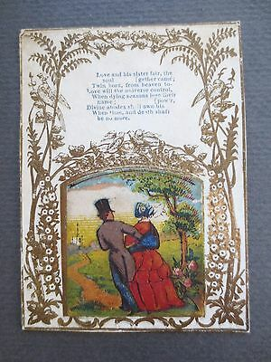 ANTIQUE Greetings Card Scrap Picture Victorian Couple and Verse Gold Embossed