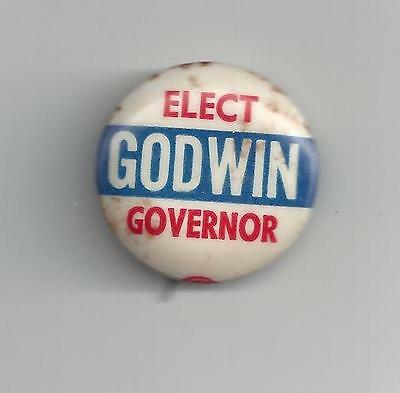 Elect Godwin for Governor Campaign Pin-Button White Background