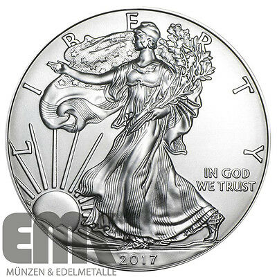 USA 1 Dollar 2017 Silver Eagle Walking Liberty 1 Unze Silber Münze Stempelglanz