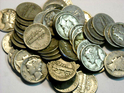 $5 Mixed Mercury Dime Roll (50), 90% Silver, Circulated Roll #1