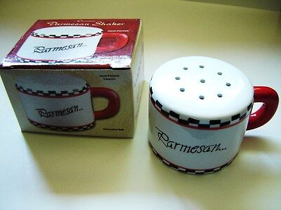 Ceramic Cheese Shaker Hand Painted Parmesan Cheese Shaker Black Red White Boxed