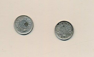 India Silver 1/4 Rupee 1944 Wwii Pair