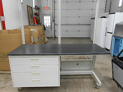 "4 Drawer Black Composite Lab Table/work Bench 72 X 29.75 X 36.5"" Work Surface"
