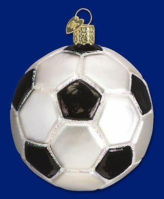 Soccer Ball Old World Christmas Ornament Glass Blown Tree Sports NWT 44012