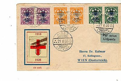 Postaly Used Cover Latvia To Austria 21.6.1926 By Air. Scott B21-B23 Pairs. Cach