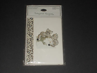 1999 Ruth Morehead Snow Leopard Blank Inside Note Cards