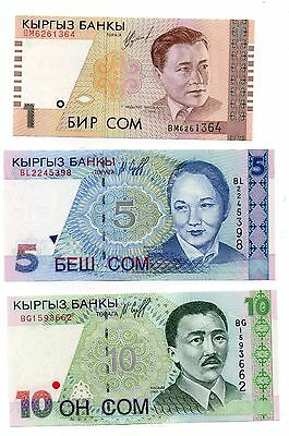 KYRGYZSTAN  1 / 5 and 10 Som  - A Set of 3 Crisp UNC Banknotes