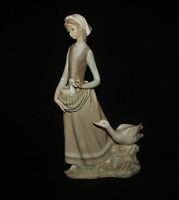 Lladro Large Girl With Geese Figurine