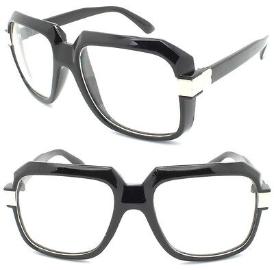 Men's Vintage Clear Lens Bold Frame Glasses RUN DMC Hip Hop Thick Black Celeb