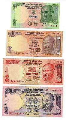 INDIA  5 / 10 / 20 and 50 Rupees - Set of 4 Crisp UNC  Banknotes