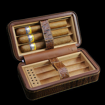 Cohiba Crocodile Embossed Leather 6 Cigar Travel Humidor