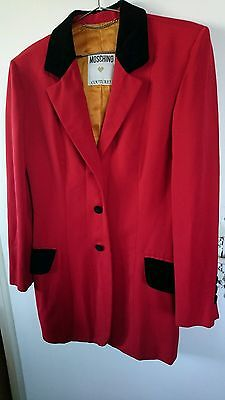 Women's red moschino couture jacket velvet trimming. One size (roughly uk10)