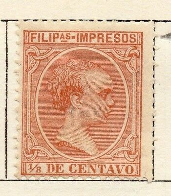 Philippine Islands 1898 Early Issue Fine Mint Hinged 1/8m. 123783