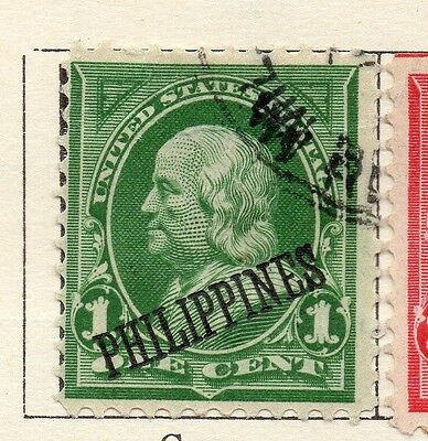 Philippine Islands 1899 Early Issue Fine Used 1c. Optd 123785