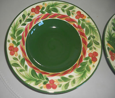 Southern Living @ Home Christmas Memories Rimmed Soup Bowls (2)~Retired
