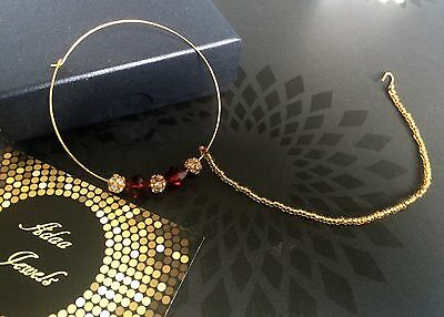 INDIAN  DESIGNER GOLD PLATED   NOSE RING BRIDAL JEWELRY Nath Red Diamonte
