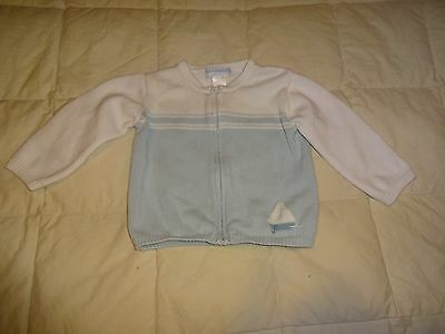 Janie and Jack Baby Blue Sailboat Sweater, size 12-18 months, button up