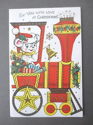 Vintage CHRISTMAS Card Children's 1960s Teddy on Steam Engine With Presents