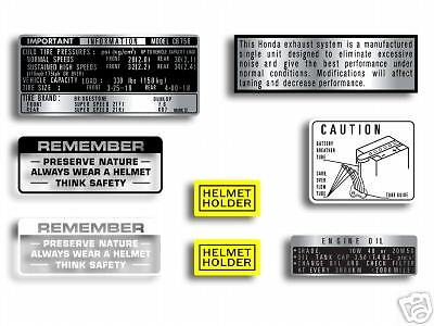 Honda CB750 K1 & K2 warning & service label set