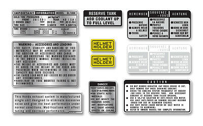 1975-1977 GL1000 Gold Wing - 10 Piece Warning & Service label set
