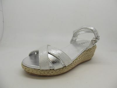 f00f06533 New Girls Ladies Ex M   S Silver Wedge Heel Sandals 13 - 6 Summer Holiday
