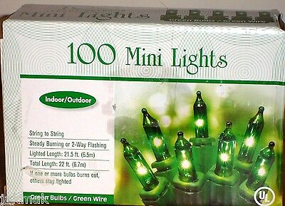 St Patrick's Day Green Mini Light String 100 Count Bulbs Indoor/Outdoor Use