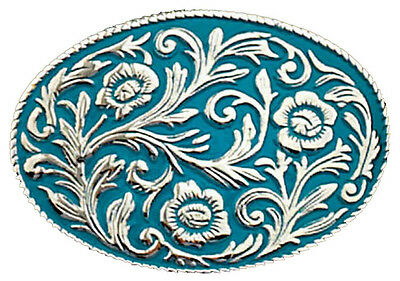 """NEW! Western Turquoise Scrolled Belt Buckle, 4"""" x 2-3/4"""", Made in the USA Silver"""