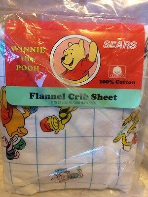 Winnie the Pooh Flannel Crib Sheet Vintage Old Stock Sears USA Made