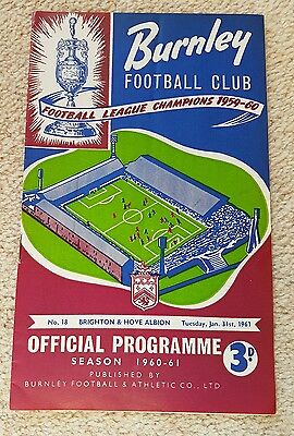1961 Football Programme.  Burnley V Brighton