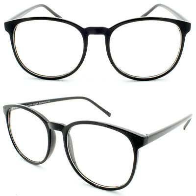 Retro Black Circle Round Frame Women's Men Clear Lens Glasses VTG 50's Eye