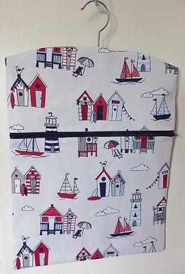 """Hand Made Peg/Hanging Storage Bag Lined/Zipped 12.5"""" x 16"""" Red/Blue Beach Huts"""